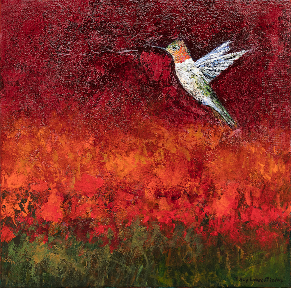 Red Hummingbird Paintings Tracy Lynn Pristas Hope Feathers jpg
