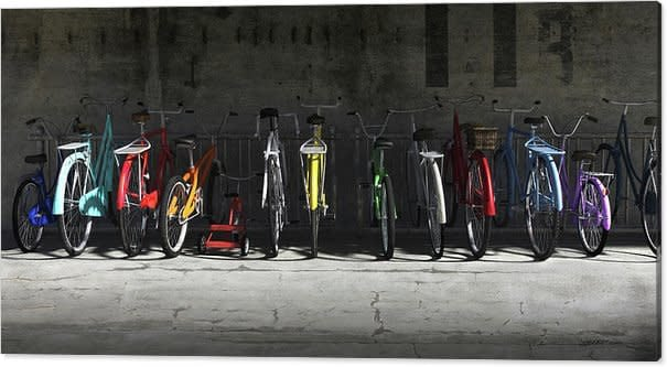 bike rack cynthia decker canvas print