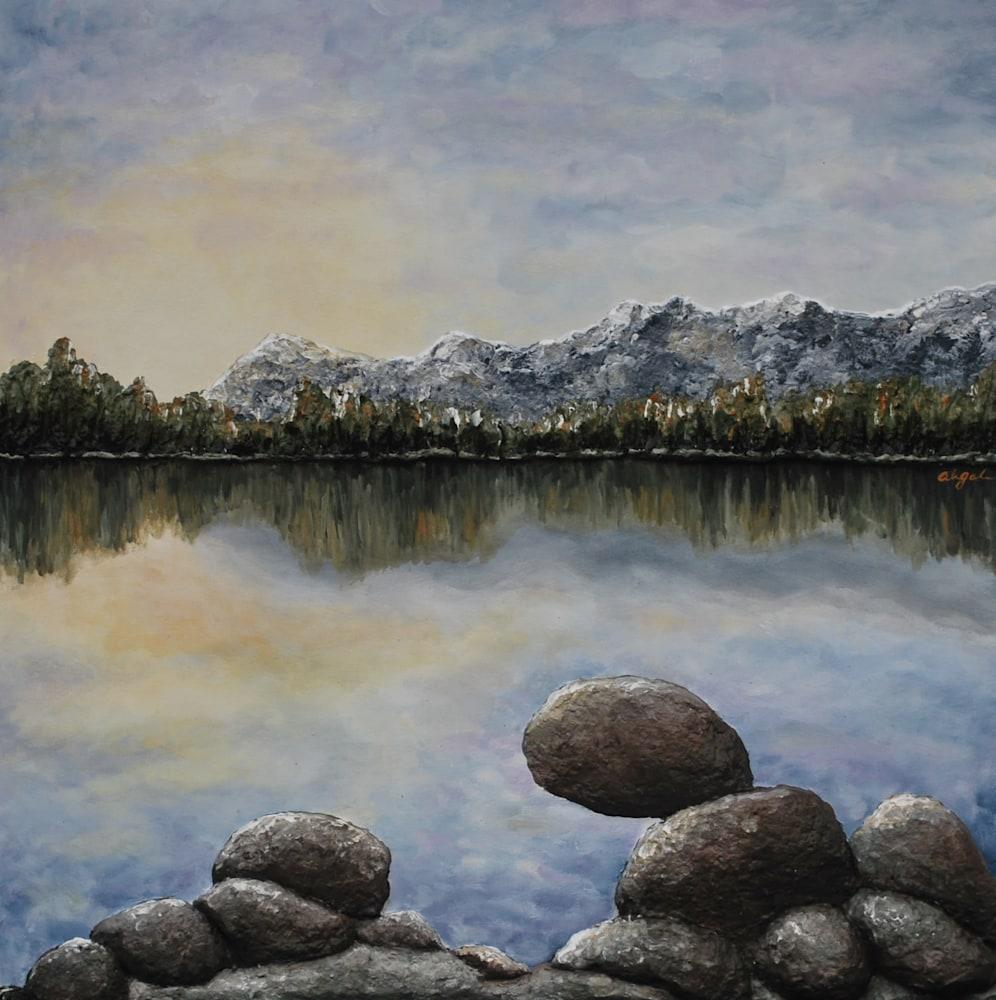 Sunlight on the Rocks 30 x 30 Mixed Media & Acrylics
