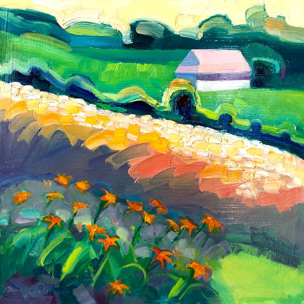 Where Your Glory Dwells 142, Oil, 12x12 ,daylilies, farm, orange, wheat field