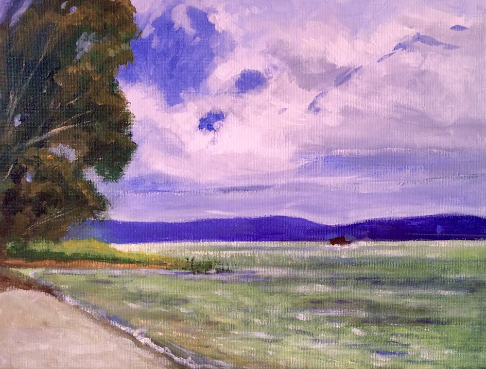 Sea of Galilee after a storm Fine art landscape painting by American Artist Hilary J England