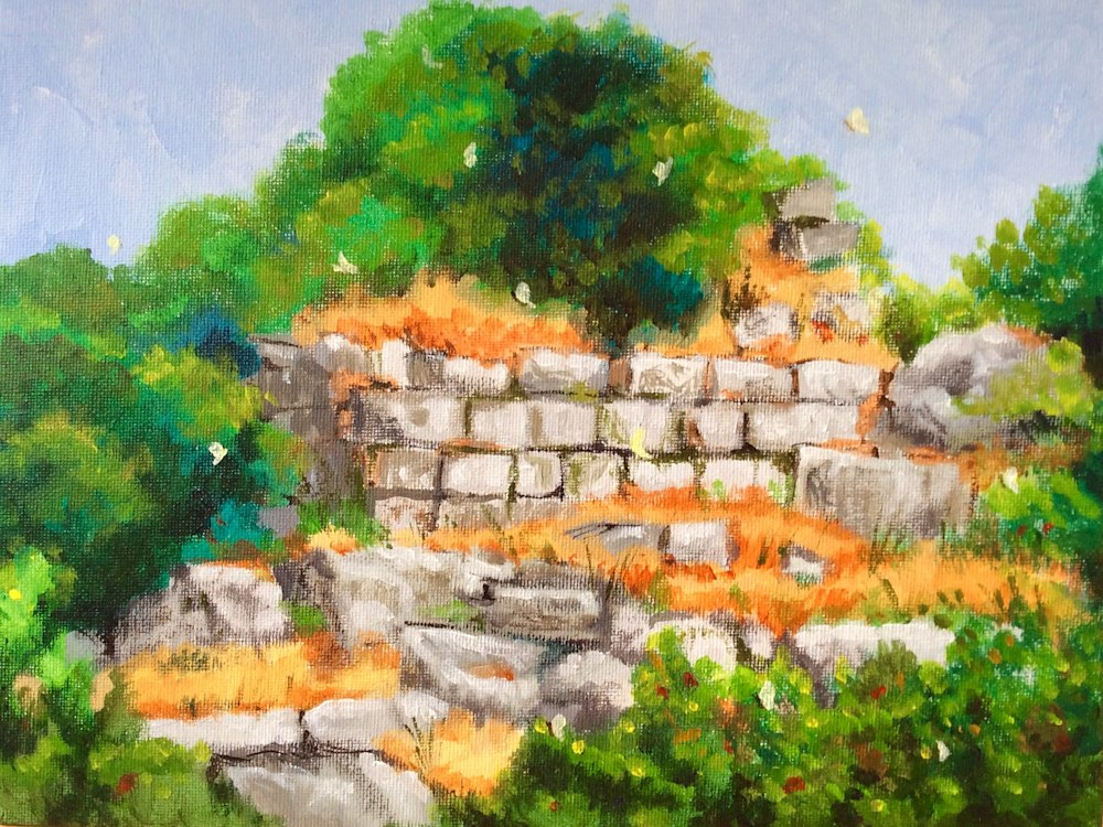 Butterflies on the chapel ruins of the Mount of Beatitudes Fine art Landscape Painting by American Artist Hilary J. England