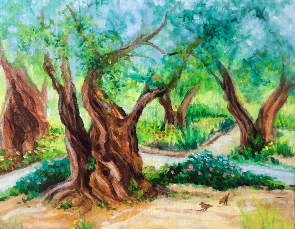 Garden of Gethsemane Original Fine Art Landscape Painting by American Artist Hilary J. England