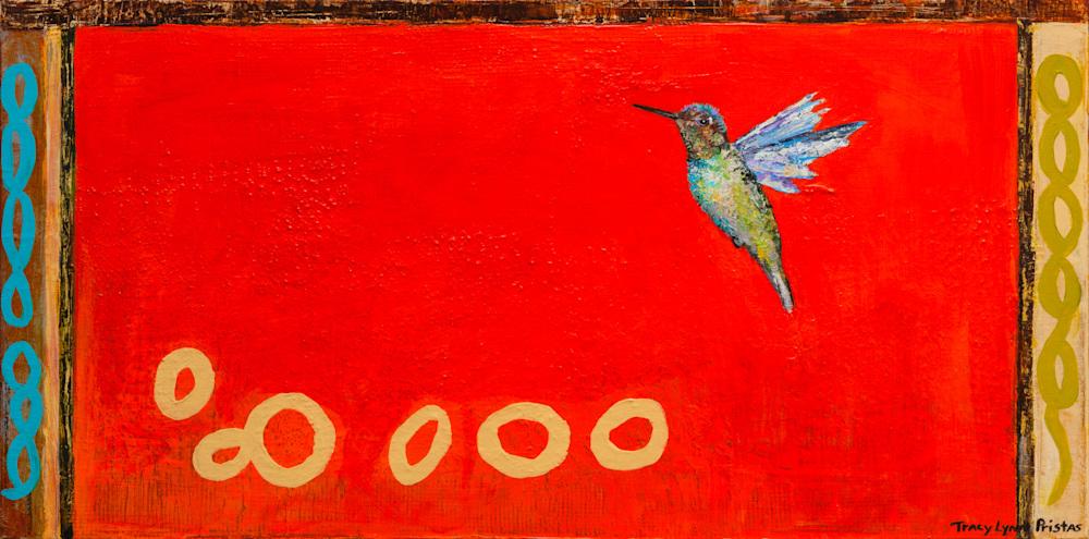 Sky Brush Red Hummingbrid Paintings By Tracy Lynn Pristas