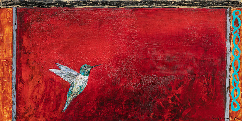 Glitter Grandeur Red Hummingbird Art Tracy Lynn Pristas