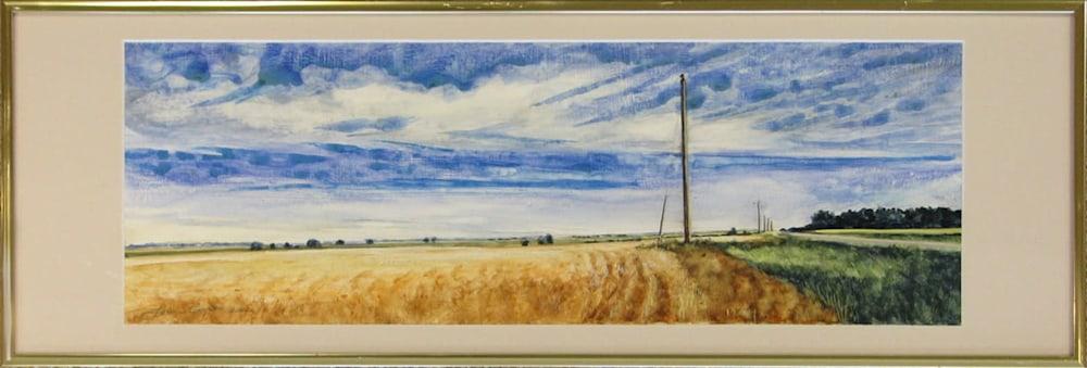 65Louis Copt   Kansas Wheatfield   Watercolor on board   7x19   $375