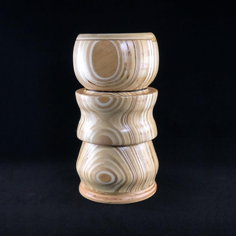 turned natural plywood candleholder 1