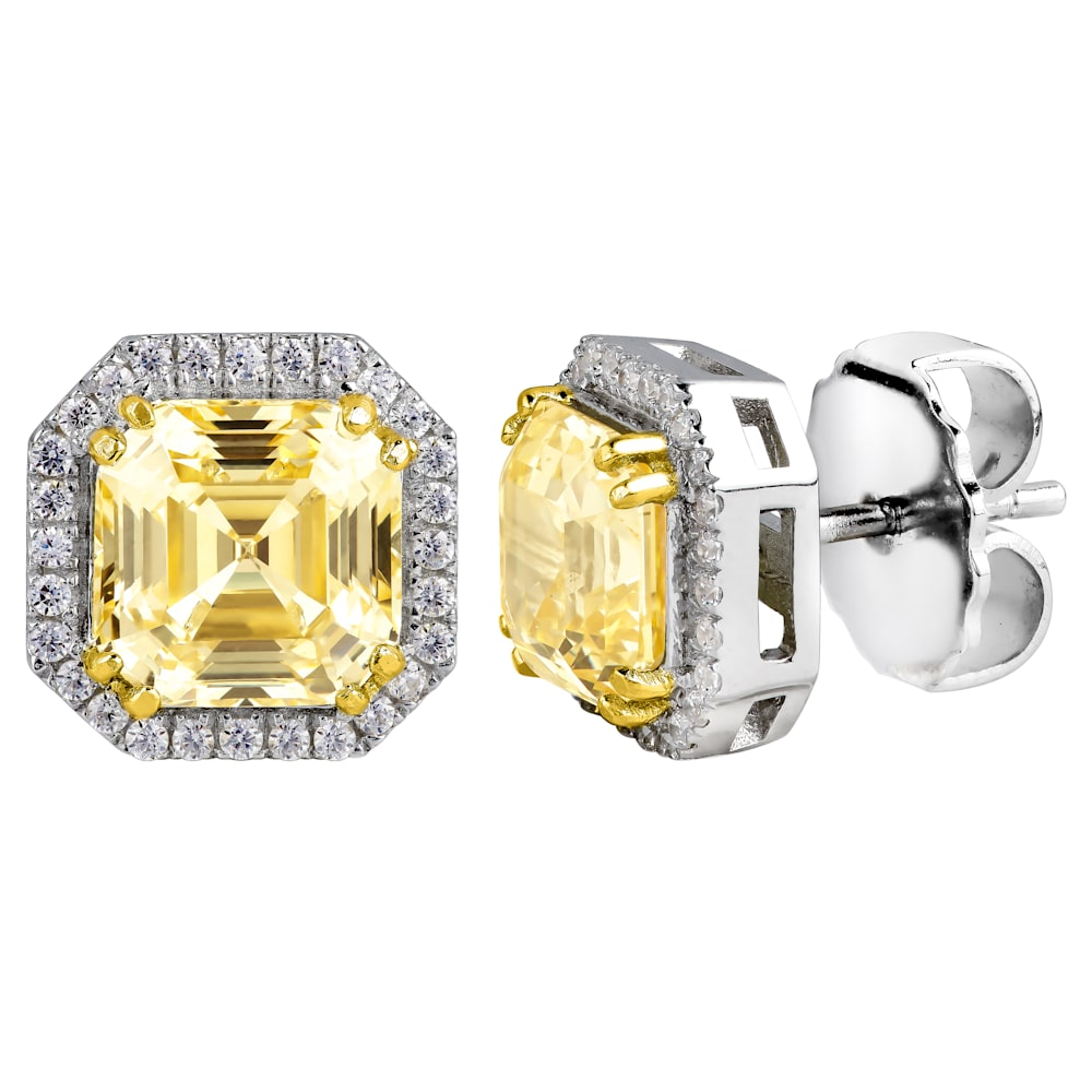 Sterling Silver Fancy Light Yellow 3 Carat Asscher Cut Studs with Halo and 18 KGP Prongs Z30247 a 210000000508