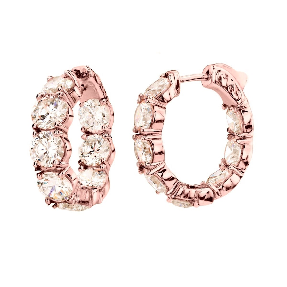 18 KGP Rose Gold Small Large Stone Couture Hoops Z30194 a 210000000366
