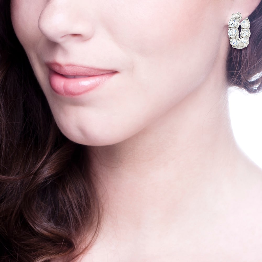 Sterling Silver Small Large Stone Couture Hoops Z10067 b 210000000358