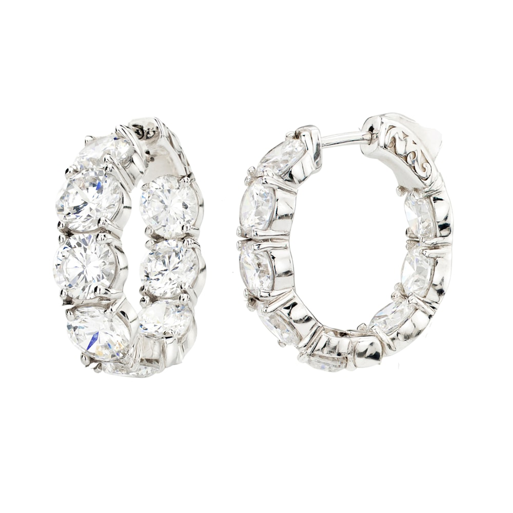 Sterling Silver Small Large Stone Couture Hoops Z10067 a 210000000358