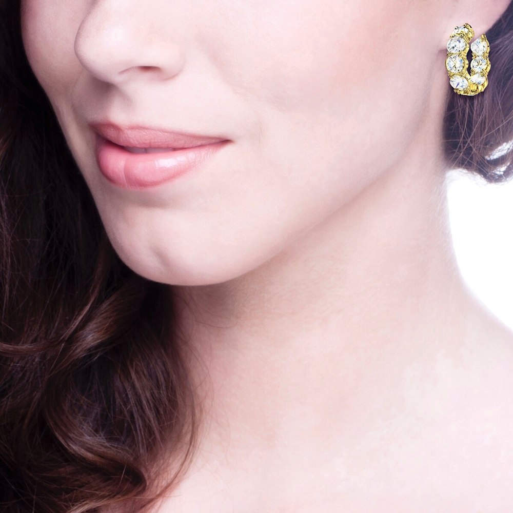 18 KGP Small Large Stone Couture Hoops Z30202 b 210000000424