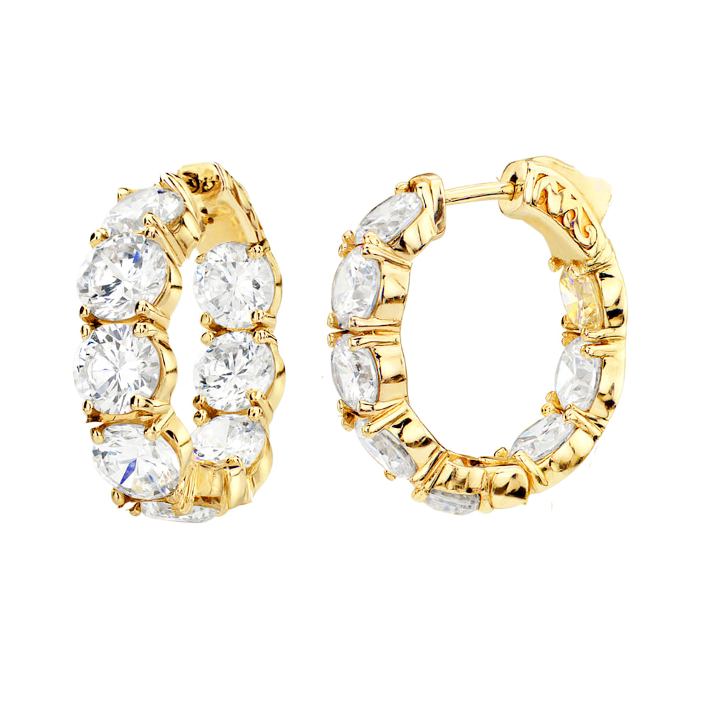 18 KGP Small Large Stone Couture Hoops   Z30202   a  210000000424