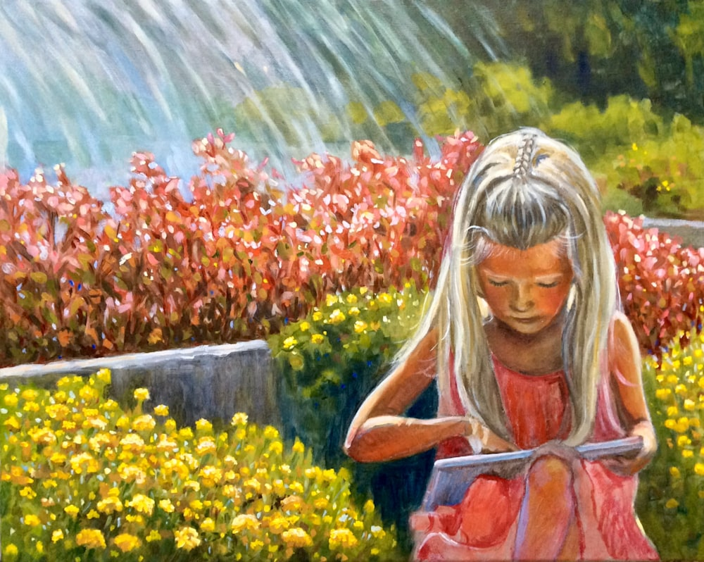 Hannah by the fountain Original Figurative Oil Painting by American Artist Hilary J. England
