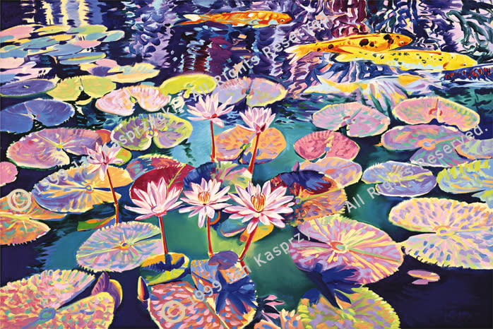 Waterlilies in Teal gic wC