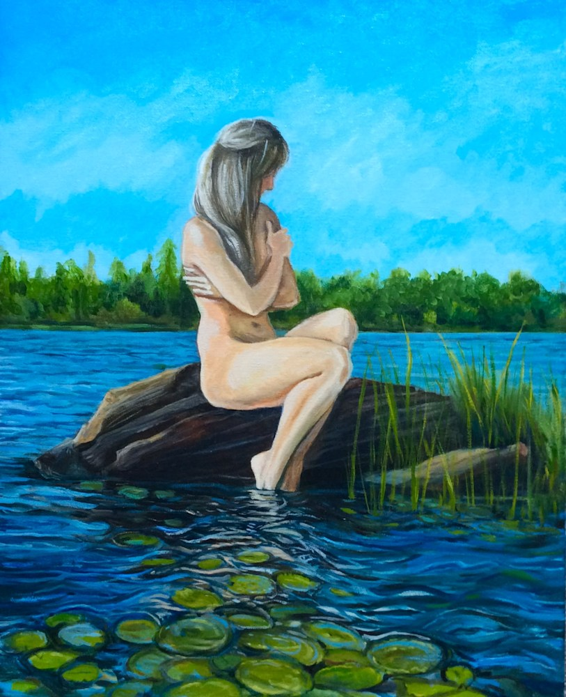 Mermaid for a Day Original Romantic Fine Art Oil Painting