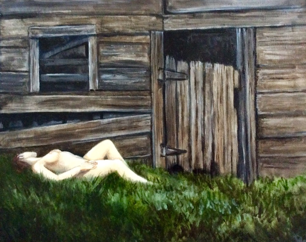 Study of the Figure and Old Barn Original Fine Art Figurative Oil Painting by American Artist Hilary J. England