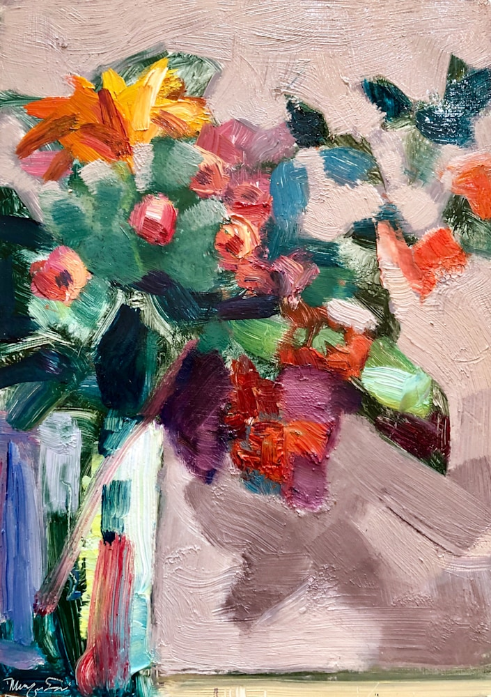 Together Still Life With Roses and Viburnum, oil on panel, 7x5