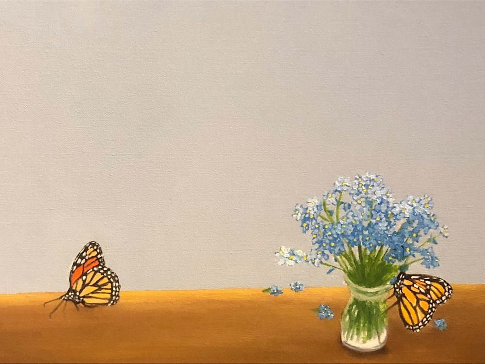 Monarchs and Forget Me Nots Detail flowers