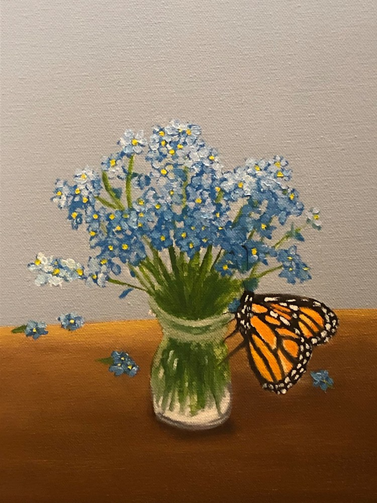 Monarchs and Forget Me Nots detail vase with butterfly