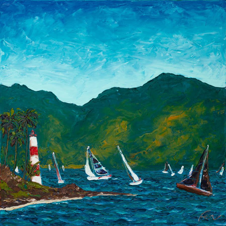 Ilhabela, Regatta and lighthouse costal Art