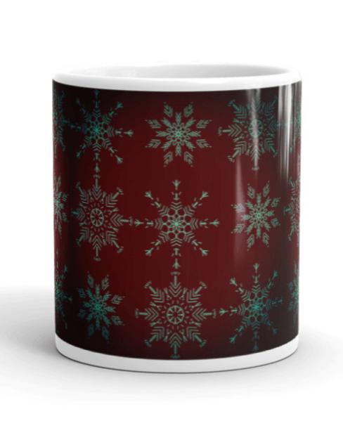 Rich Holiday Crystal Mandala Art Mug Center