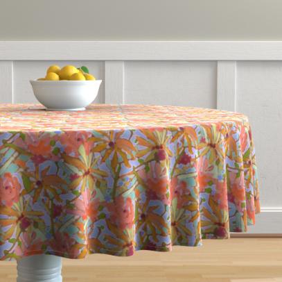TableclothWildflowerPastels