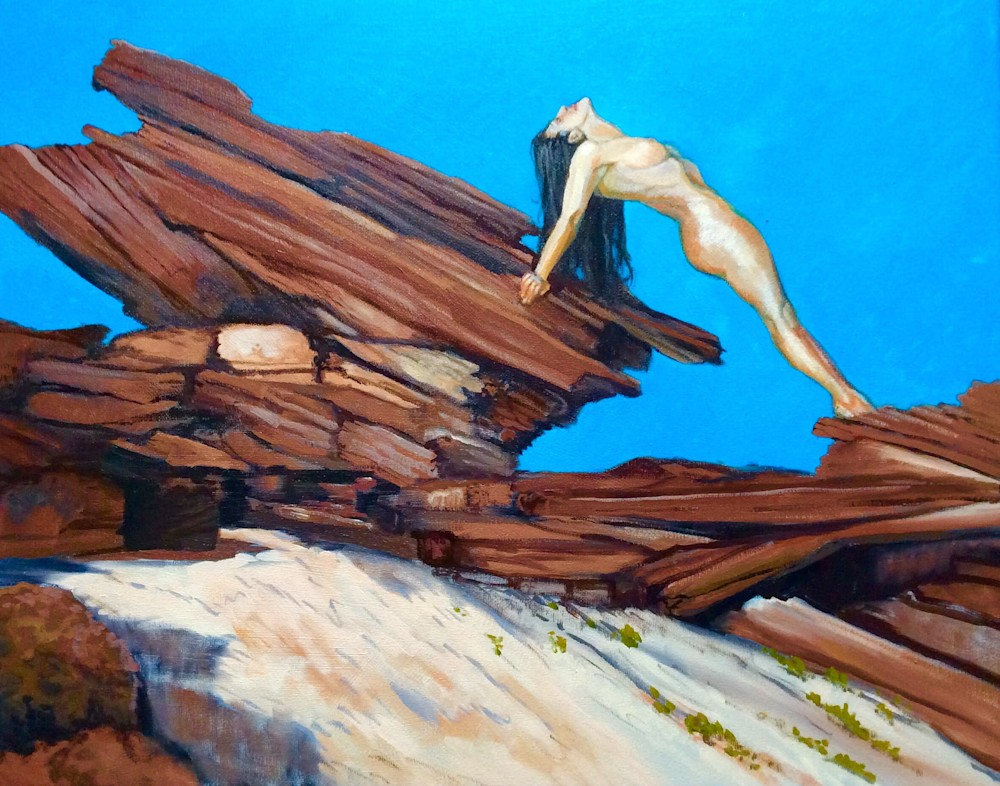 Red Rocks and the Female Figure Fine art Oil Painting by American Artist Hilary J England