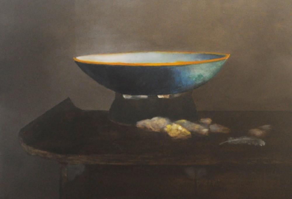 Illuminated Bowl, Stones, and Feather