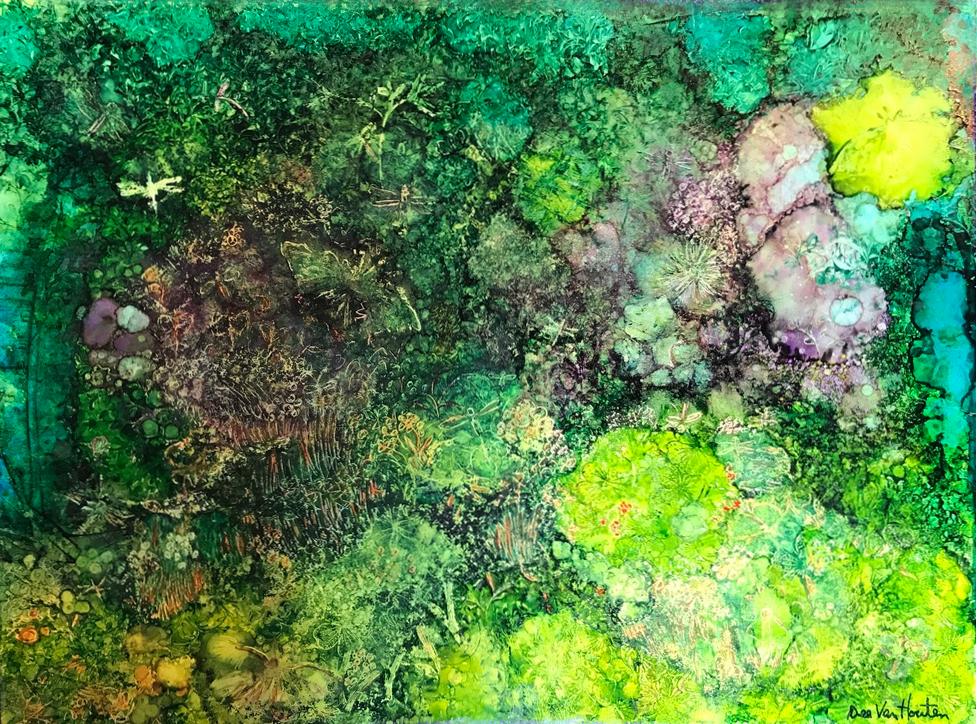"""""""Spiritual Garden"""" Alcohol Ink Original Painting by Artist, Dee Van Houten"""