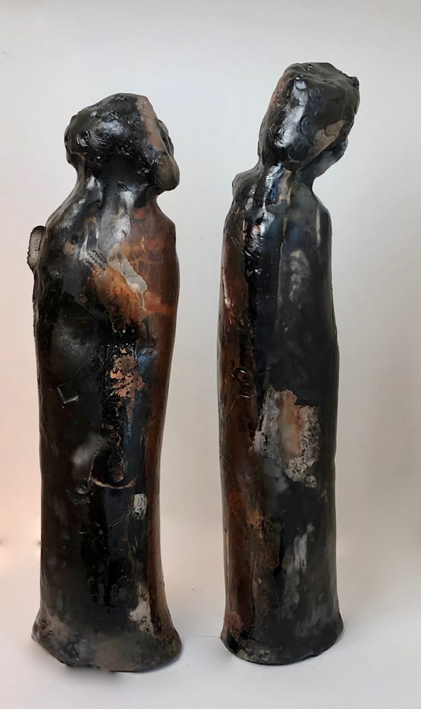 Ceramics Kissing Couple 1  back view ,pit fired, 14
