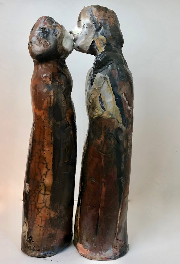 """Ceramics Kissing Couple 1 pit fired, 14""""x3"""" each"""