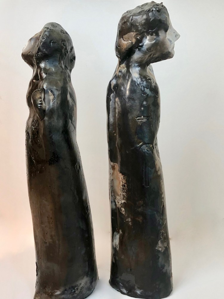 """Ceramics Kissing Couple 1  side pit fired, 14""""x3"""" each"""