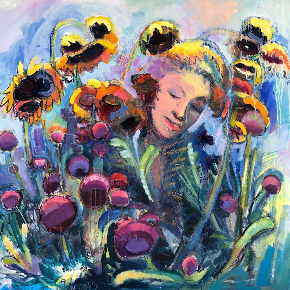 Crown of Glory 3 Woman with Sunflowers, Oi, 36x36