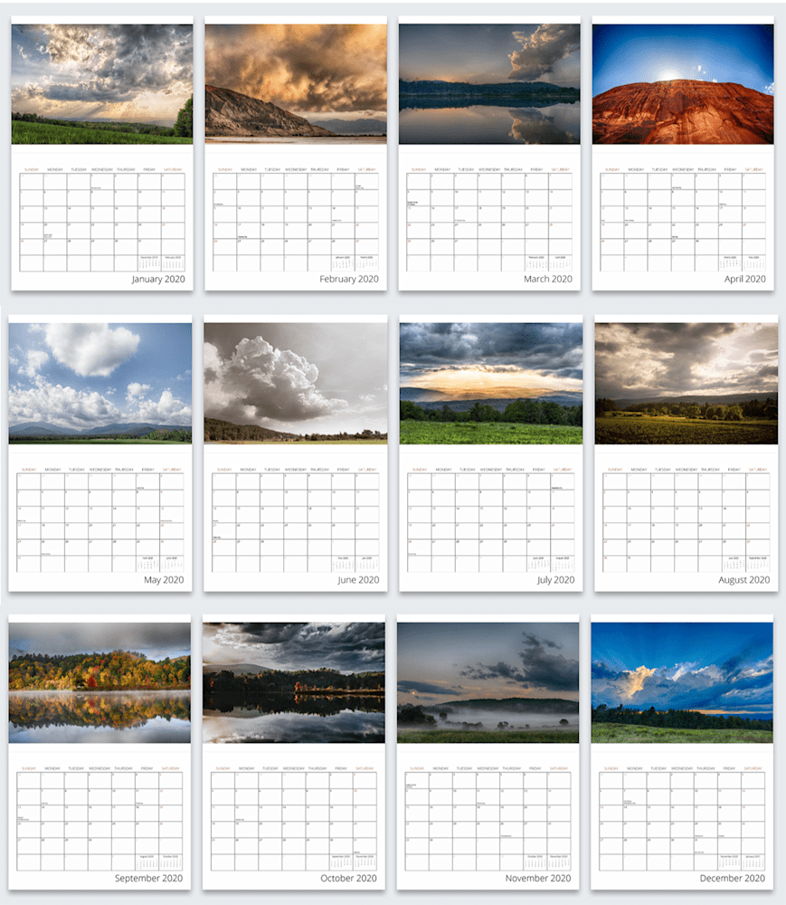 2020 Calendar Layout Year