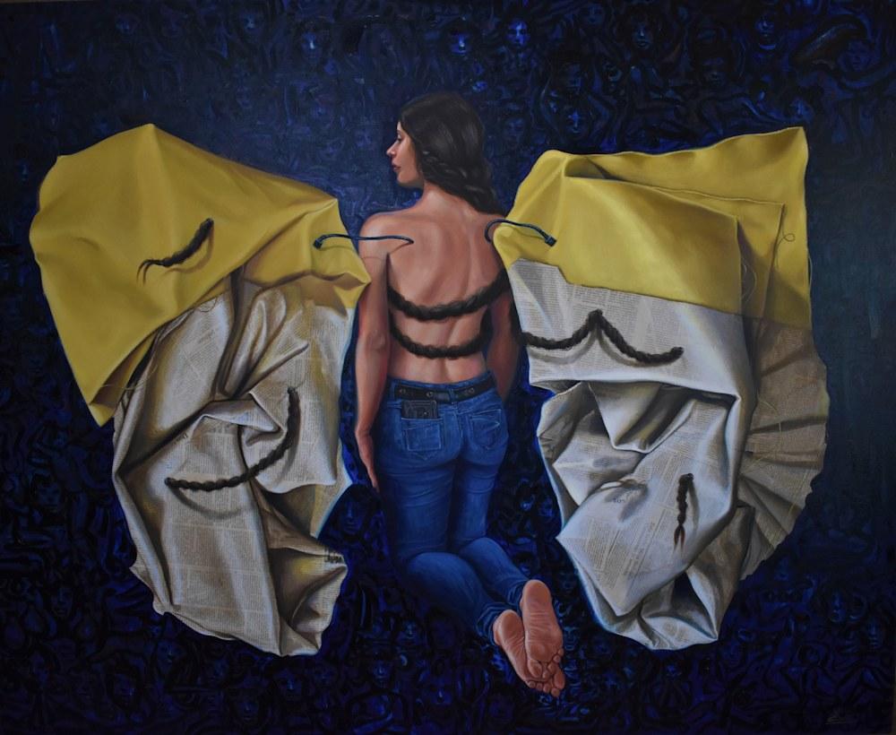 Angel azul, oleo tela, 60x48 pulg precio 8000