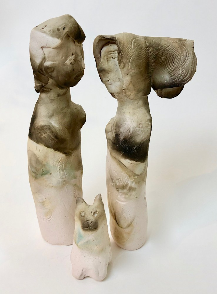 Kissing Couple 3 with Cat, ceramic,6