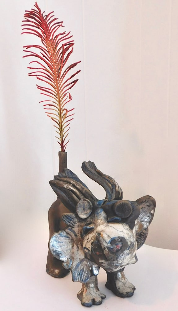 Sculpture Raku Lion, ceramic (1)