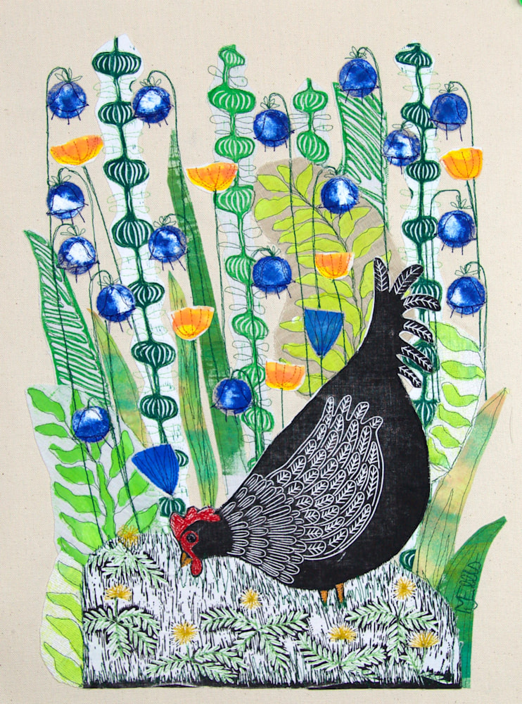 Doris in the Bluebells lino collage
