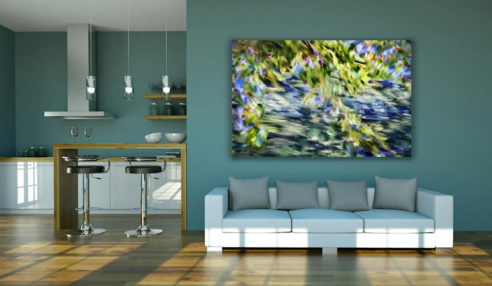 living room blur lake