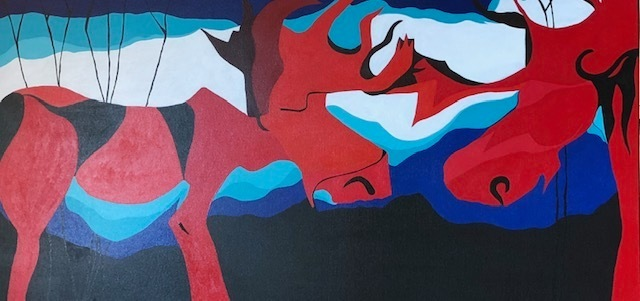 TWO RED MOOSE 24X48