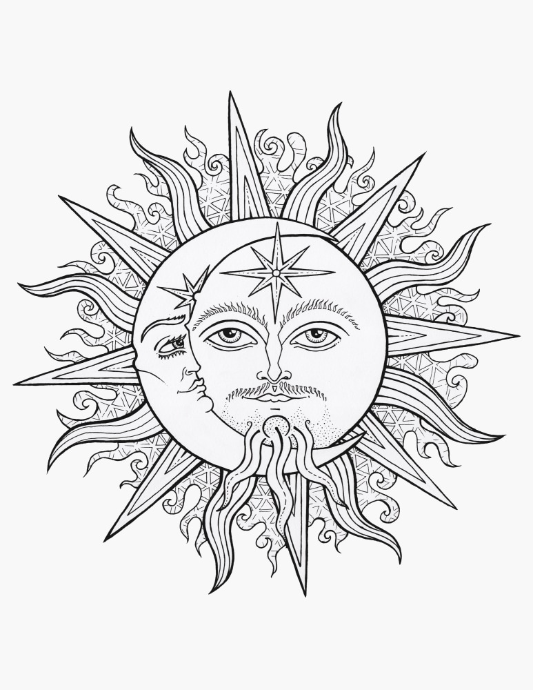 Sun & Moon  Coloring Page 8
