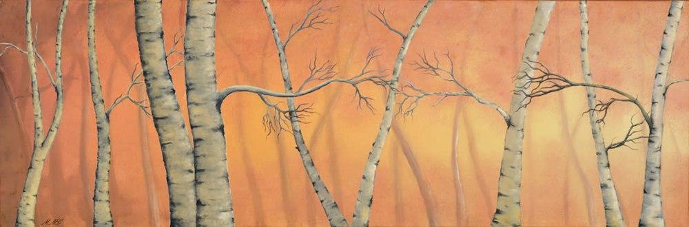 'Birch Trees' Oil on canvas by Monica Marquez Gatica MMG Art Studio