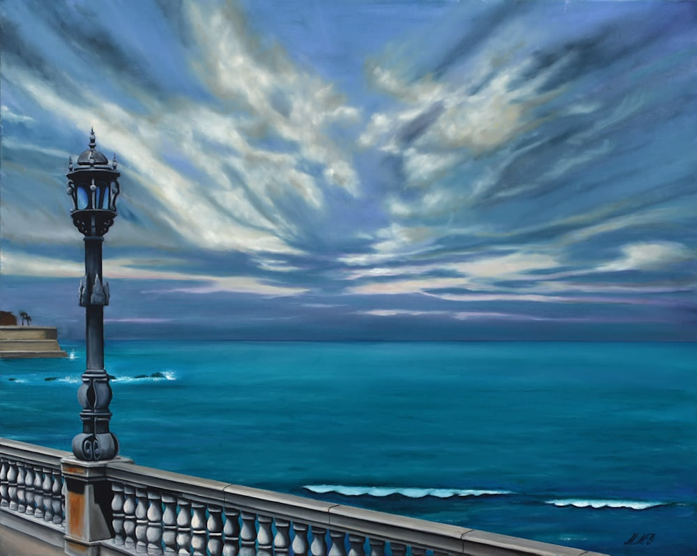 'Mediterranean Sea Walk' Oil on canvas by Monica Marquez Gatica MMG Art Studio
