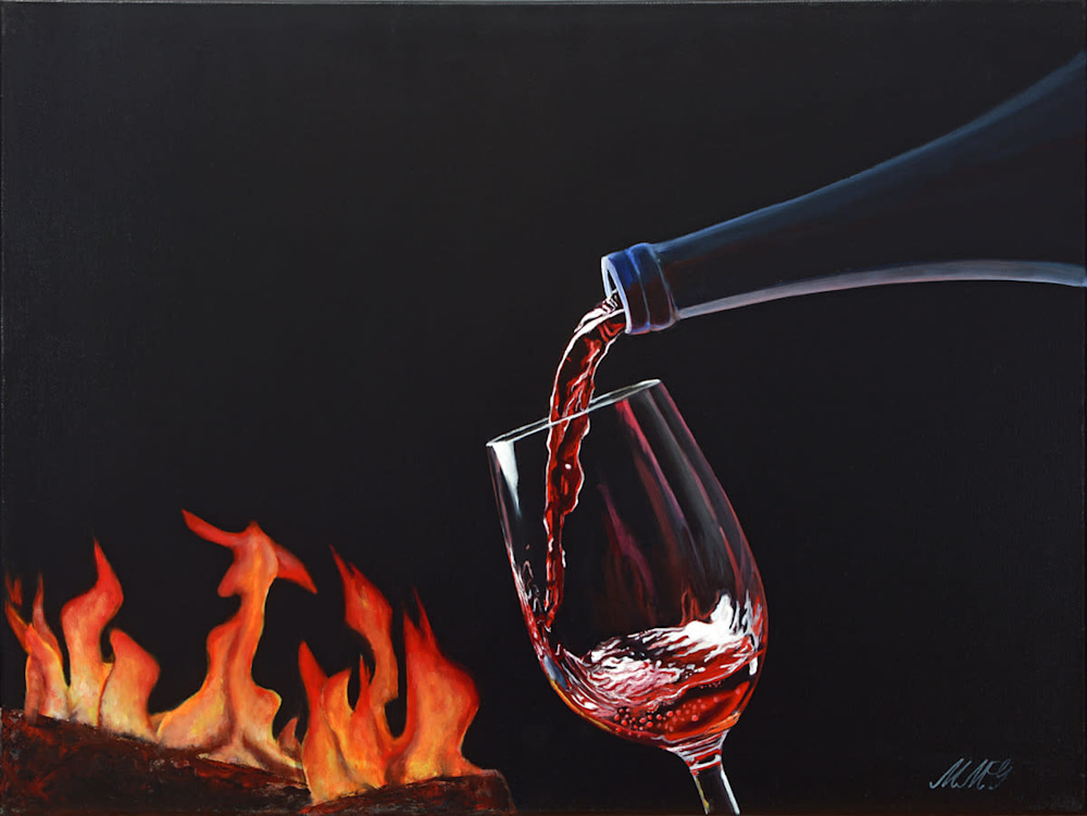 'Cozy Wine' Oil on canvas by Monica Marquez Gatica MMG Art Studio