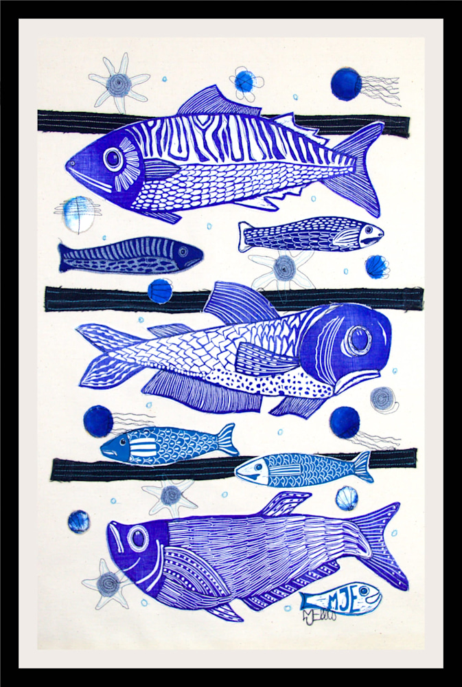 3 fish lino collage framed