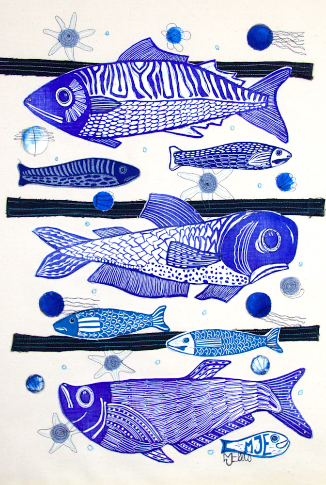 3 fish lino collage