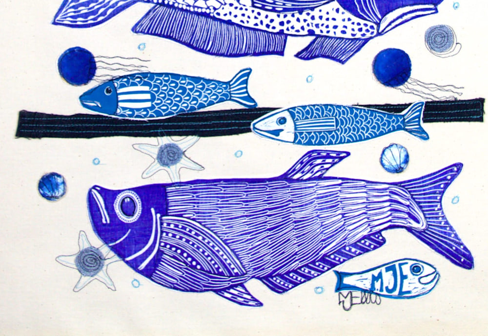 3 fish lino collage signature