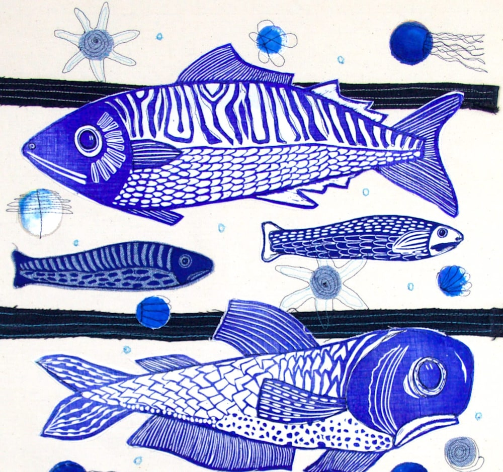 3 fish lino collage top