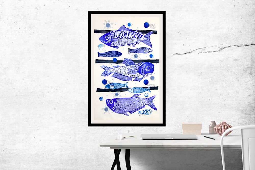 3 fish lino collage interior
